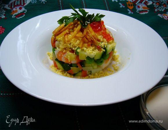 Оливье с креветками и картофелем пай