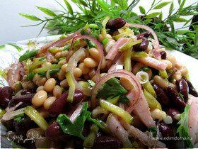 Салат из фасоли с ветчиной