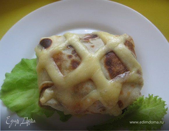 Блины в сырную клеточку с начинкой