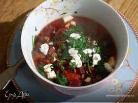 Томатный суп с чечевицей, свеклой и шпинатом