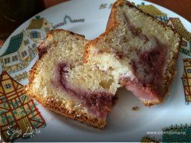 Йогуртовый кекс с мраморным ягодным рисунком