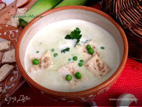 Суп с пореем и зеленым горошком