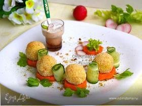 «Весенний букет» из картофельных крокетов на сливочно-морковной «подушке»