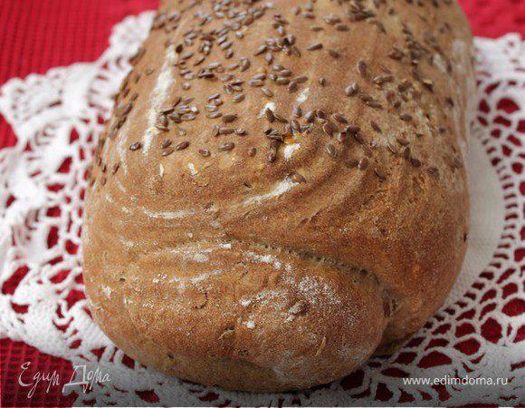 Пшенично-ржаной хлеб с льняными семечками