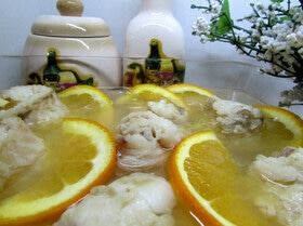 Филе камбалы в апельсиновом желе