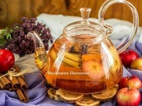 Яблочный чай с душицей и корицей
