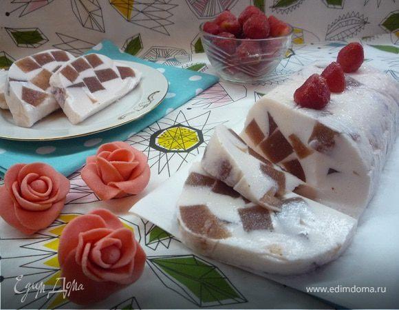 Клубничные кубики с ванилью в йогуртовом желе