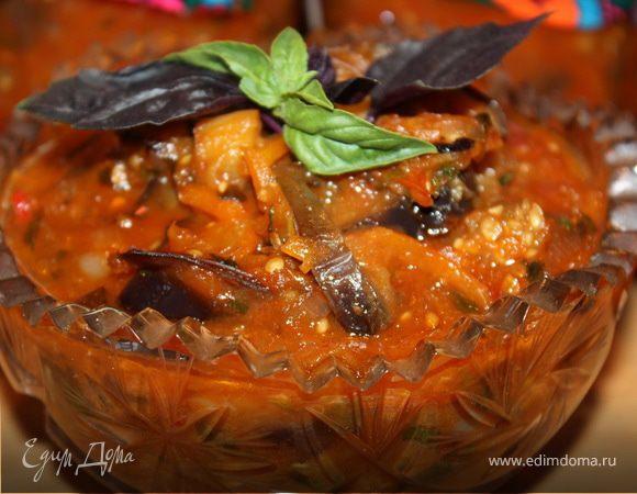 Салат из болгарского перца с баклажанами в остром кисло-сладком соусе