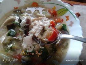 Суп куриный с баклажанами и яйцом