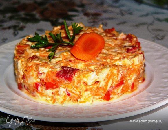 Салат из курицы с красным сладким перцем и морковью