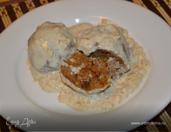 Хлебные кнедли в сырном соусе