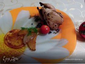 Перепелки в медово-горчичном маринаде с карамелизированной грушей и апельсином