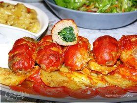 Котлеты с начинкой из шпината под томатным соусом