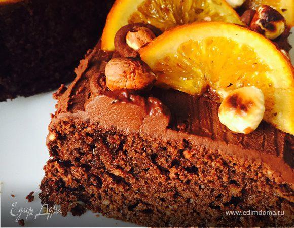 Апельсиновый кекс с шоколадом и лесными орехами