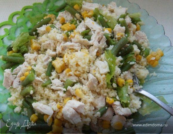 Салат с курицей и лимонным кускусом
