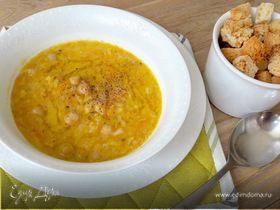 Постный суп из нута и лука-порея