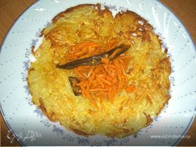 Драник с салатом из пряной моркови и баклажана