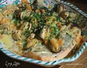Семга с мидиями в соусе карри