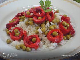Рис с болгарским перцем и горошком