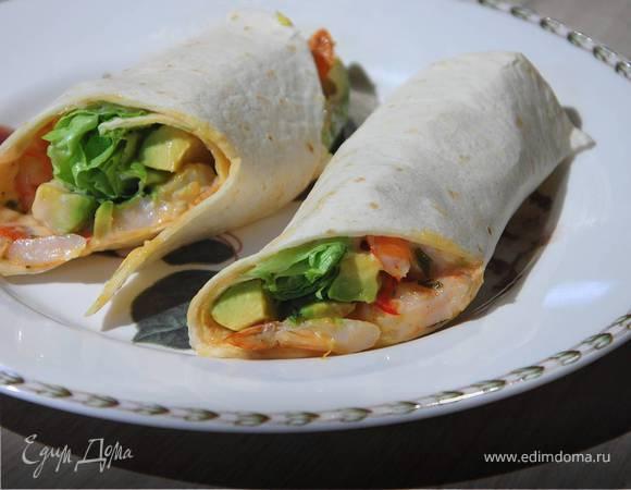 Тортилья с авокадо и креветками