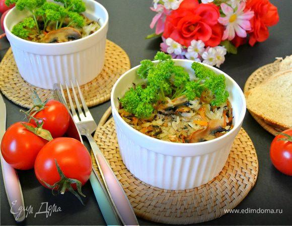 Запеканка из рисового микса с овощами