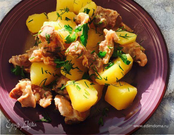 Тушеные желудочки с картофелем