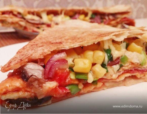 Многослойная экспресс-пицца на сковороде