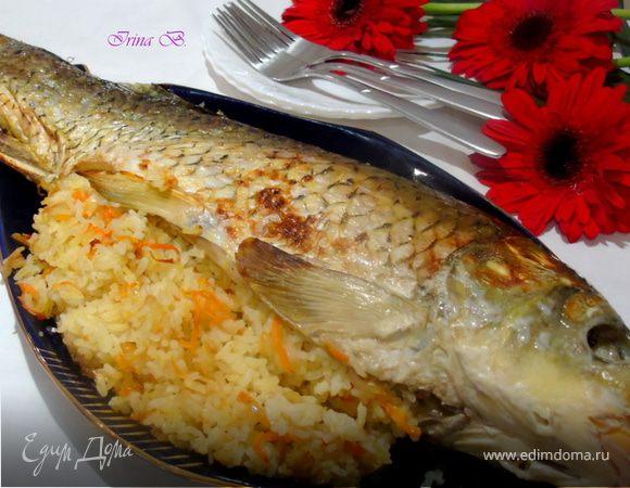 Карп, запеченный с рисом