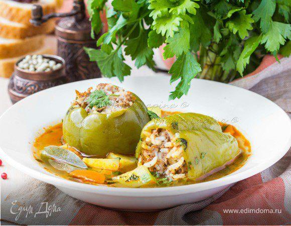 Суп с фаршированными перцам Дулма-Шурпа