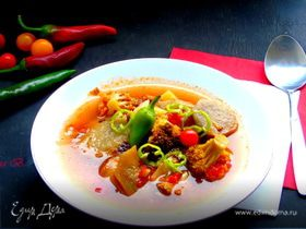 Суп с баклажанами и брокколи