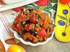 Овощное рагу на основе запеченных баклажанов и перцев