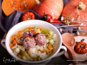 Овощной суп с тыквой и фрикадельками