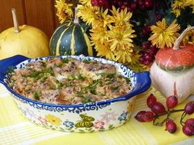 Ленивый отрывной пирог из лаваша с брынзой и тыквой