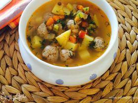Суп с зеленой чечевицей и тефтелями