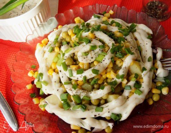 Салат из свеклы и картофеля с домашним майонезом