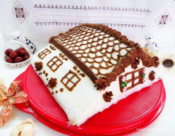 Блинный торт с вишней «Домик в деревне»