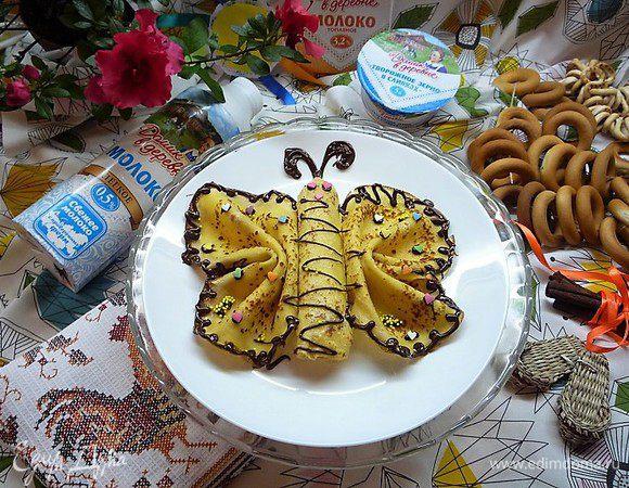 Творожные палачинки с персиками