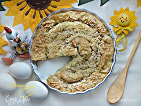 Блинный рыбный пирог со шпинатом