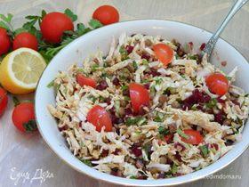 Постный салат с зеленой чечевицей
