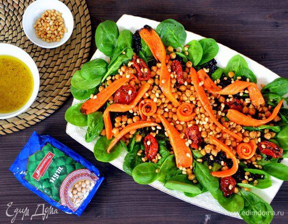 Салат с нутом и печеной морковью