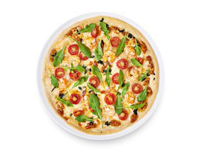 Пицца с руколой и креветками
