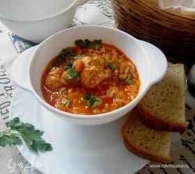 Суп-рагу с рисом и фрикадельками