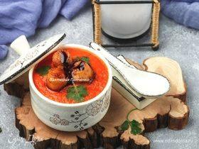 Японский томатный суп с глазированными гребешками