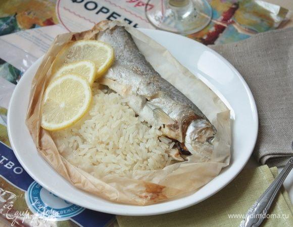 Рыба в конверте, фаршированная морепродуктами