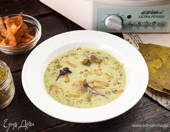 Крем-суп из брокколи с креветками