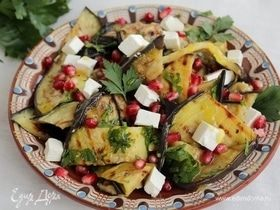Салат из баклажанов с брынзой и гранатом