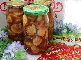 Салат из огурцов с кетчупом