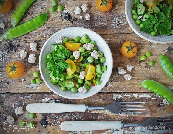 Овощной салат с битыми огурцами и отрубями