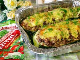Кабачок, фаршированный мясом и рисом