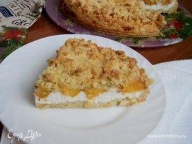 Итальянский пирог Sbrisolona с персиками